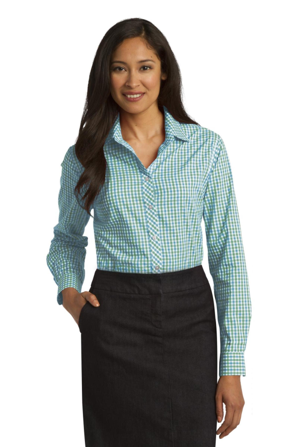 Port Authority Embroidered Women's Long Sleeve Gingham Easy Care Shirt